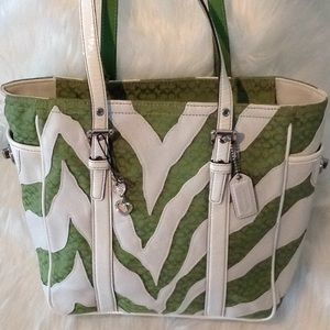 Zebra white leather with green logo Coach tote.